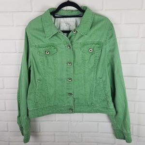 Merona Green Denim Button Down Jacket